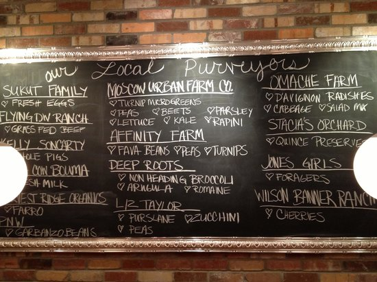 Maialina Pizzeria Napoletana: They list their local food providers on a blackboard inside the restaurant.