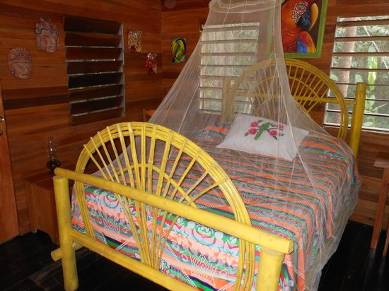Macaw Bank Jungle Lodge: Queen size bed in the Cotton Tree Cabana