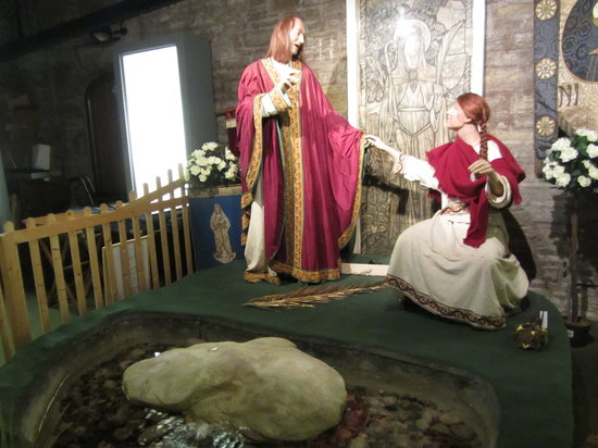 St. Winefride's Well: Model of St Winifred and  Beuno