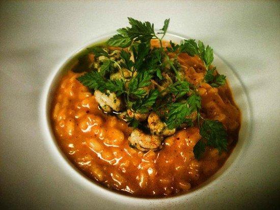 Le Petit Comptoir : risotto à la tomate et crevettes