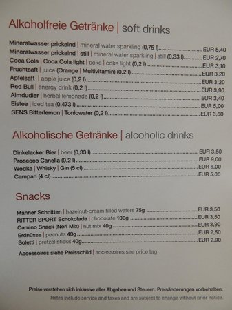 ARCOTEL Camino: In room bar prices