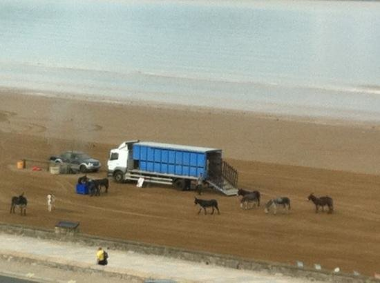 Premier Inn Weston-Super-Mare (Seafront) Hotel: view from room 409... everyone's getting ready for a hot day ahead!