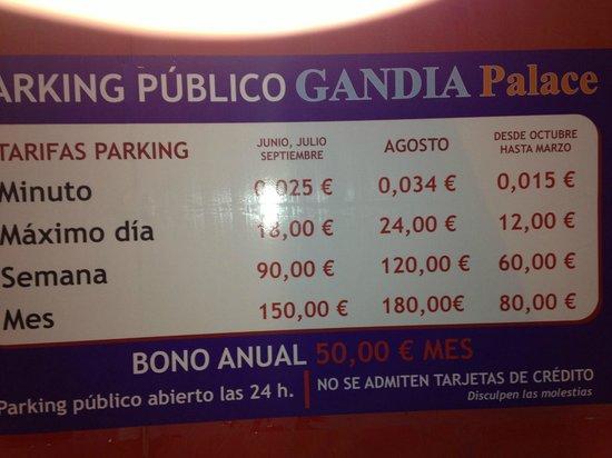 Hotel Gandia Palace: Tarifa de Parking