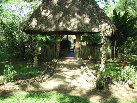 Macaw Bank Jungle Lodge: The entrance to our open air thatched roof palapa restaurant