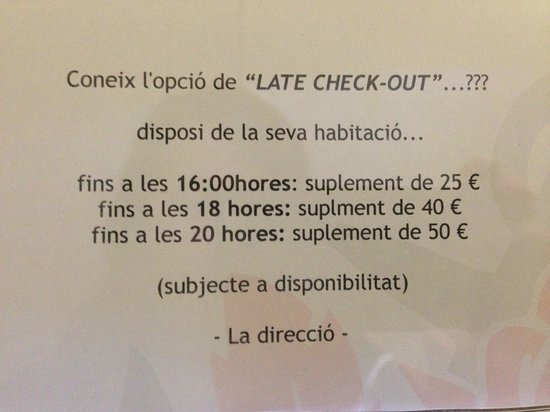 Hotel Rosamar: Coste Late Check out