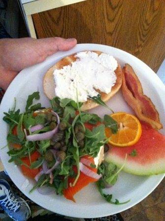 Chatham Gables Inn: cream cheese lox and arugula