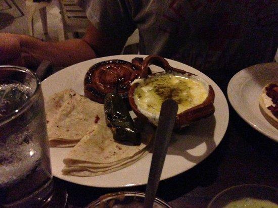 El Asadero : Chorizo with melted cheese and wheat tortillas.