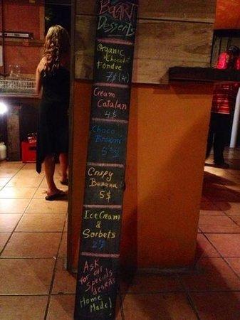 Bocart Restaurant : Listino dolci