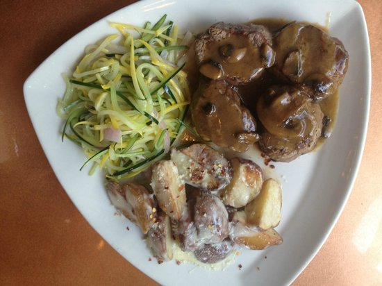 Marco's Italian Bistro: Bistecca- 12 ounces of Black Angus Petit Filet medallions topped with a mushroom demiglaze!