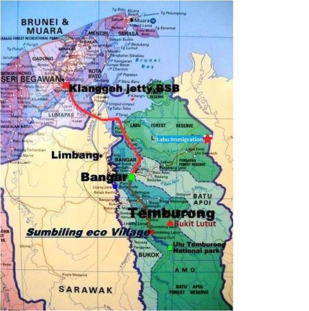 Map to Sumbiling Eco Village Picture of Borneo Guide Day Tours