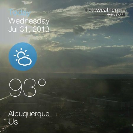 Albuquerque Marriott: View of the skyline from the room, with weather.