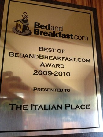 The Italian Place Bed and Breakfast: Award