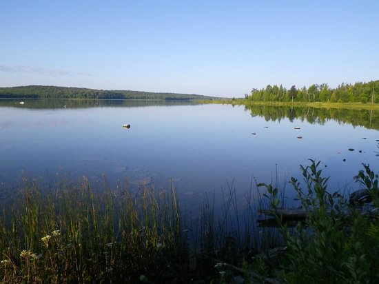 Honora Bay Riding Stables: Perch Lake just after sunrise- destination for the overnight