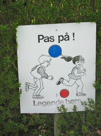 Danhostel Vejle: cartello attenti ai bimbi.