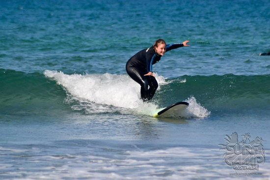 Surf Camp Australia: me standing up on the first day!