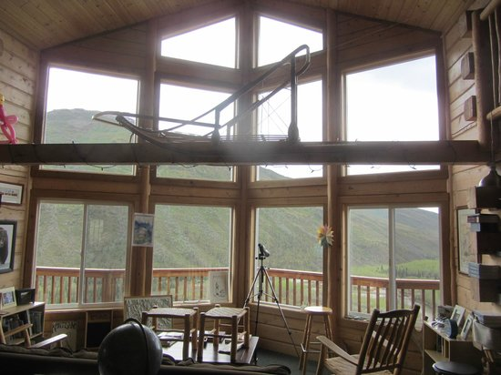Skyline Lodge: Looking out from lodge main room.