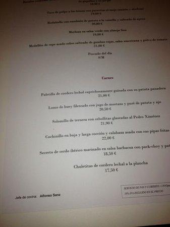 Restaurante Goya : carta