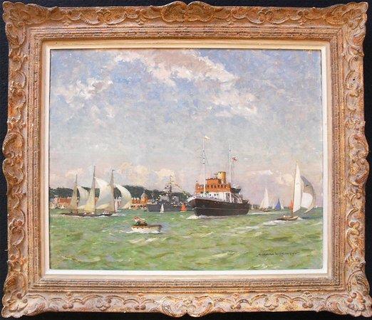Robert Perera Fine Art Gallery: Norman Wilkinson original oil painting Cowes Week