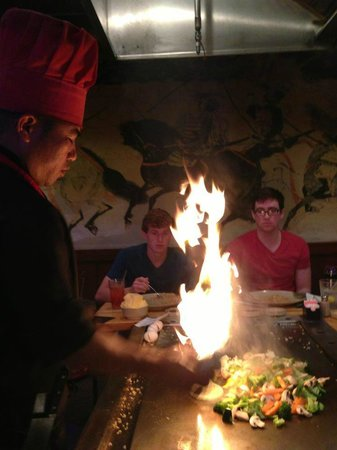 Asahi Japanese Steak & Seafood: Chef working his magic while entertaining guests