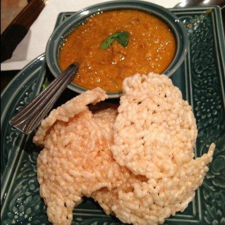 Lao Siam: Carré de riz croustillant et sauce crevettes