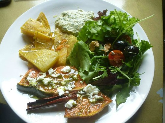 Cafe Galeria House of Wonders: One of our daily menus : oven roast pumpkin, sweet potato with rosemary, homemade dip and side s