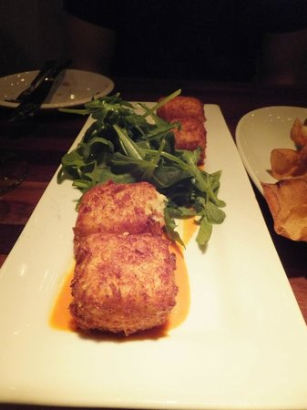 Pullman Wine Bar: Reggiano parmesan croquettes with a smoked pepper sauce and arugula
