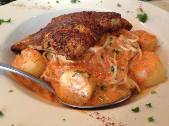 That's Amore: Blackened Mahi & Scallops over angel hair with vodka sauce