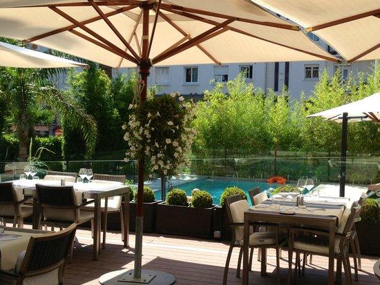 HOTEL LE CANBERRA : la terrasse et la piscine