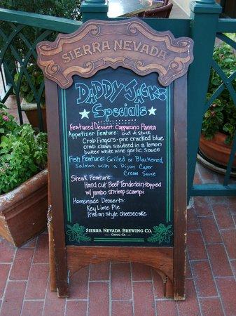 Daddy Jacks Lobster & Chowder: The daily special menu board.