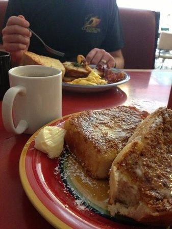 Wild Wood Cafe's famous toast and my hubby's meal of bacon, eggs, and potatoes.