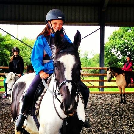 Pony Tales Stables: our overseas students in a lesson today
