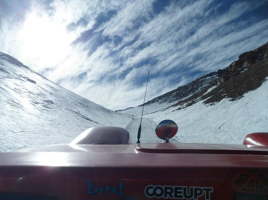 Ski Arpa: Heading up the cat track.
