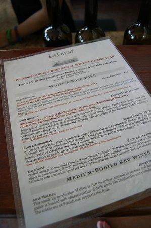La Frenz Winery : Wine tasting list