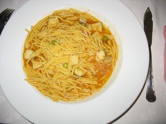 restaurant victor: Fideua à la morue (bacalao)