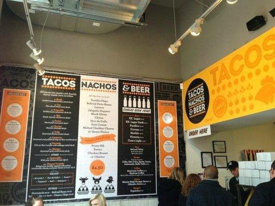 Tacos, Nachos, & Beer: Menu and Front Counter