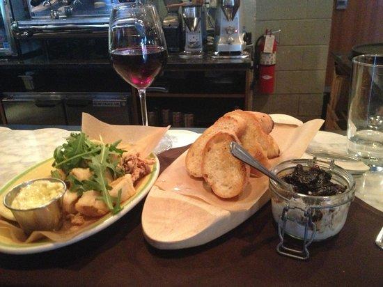 Bar Toma : Calamari and goat cheese crostini with treviso