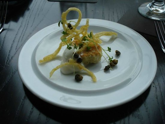 The Hotel Donaldson: Amuse bouche: King salmon cake with goat cheese mousse, fried capers, and crispy potato