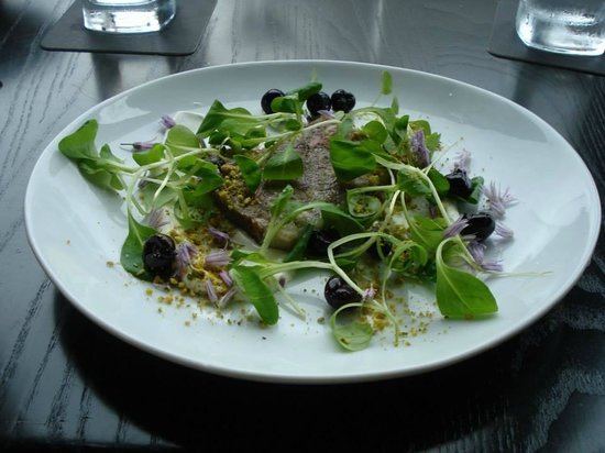 The Hotel Donaldson: Salad course: Mache salad with pork headcheese, pickled blueberries, creme fraiche, and pistachi