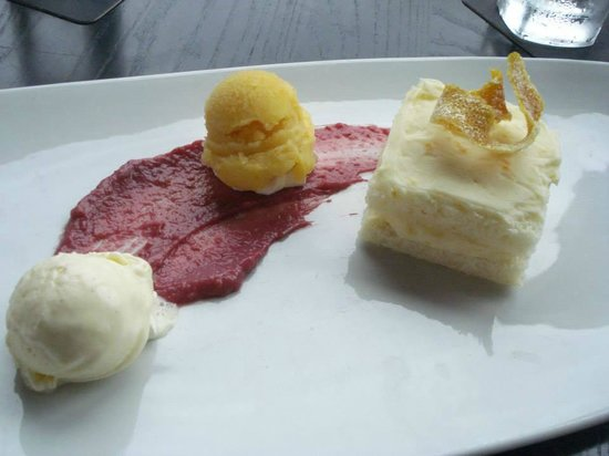 The Hotel Donaldson: Dessert: Orange frosted blond cake with raspberry cream, lavender icecream, and passion fruit so