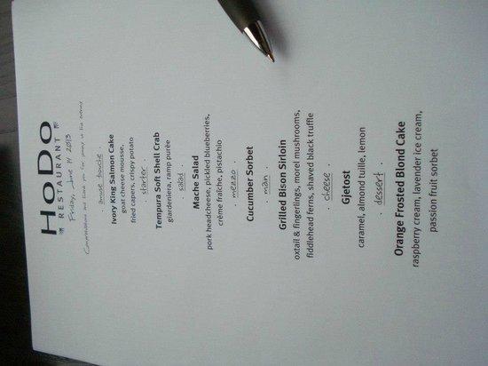 The Hotel Donaldson: Personalized menu