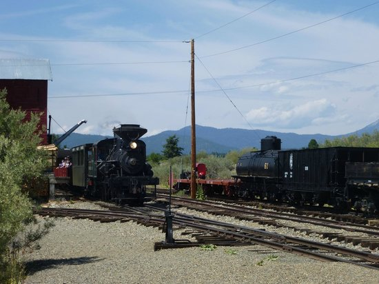 Sumpter Valley Railway: Train pulling in to McEwen Station