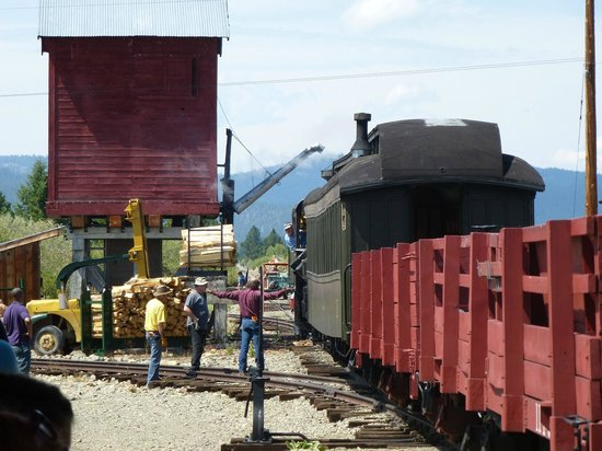 Loading wood at the McEwen Station, Sumpter Valley Railway