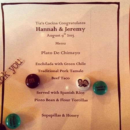Tia's Cocina : The custom dinner menu for our Rehearsal Dinner.