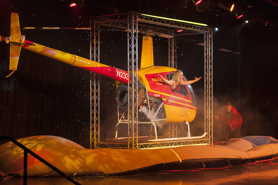 Rick Wilcox Magic Theater: live shot of the helicopter appearing on stage