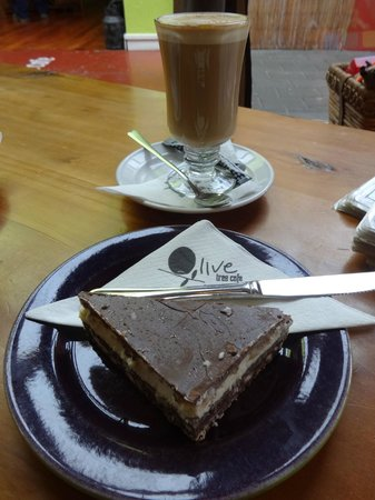 Olive Tree Cafe : A latte and a slice of chocolate & peppermint cake
