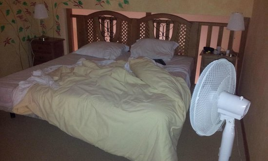 Domaine de Crecy: Comfy Beds... with our fan from home.. much needed in the heat