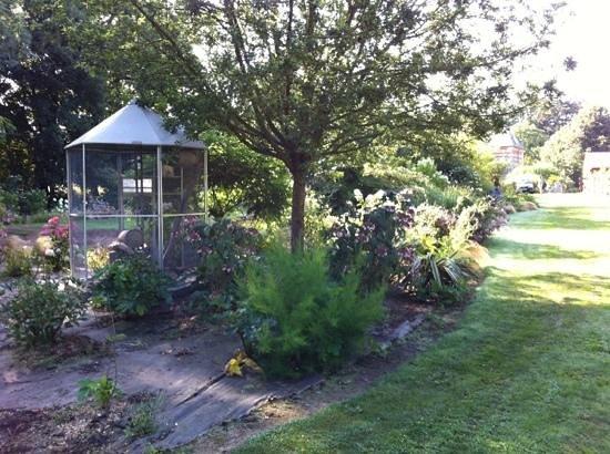 Le domaine des platanes : vue de jardin avec la cage de biscotte le raton laveur