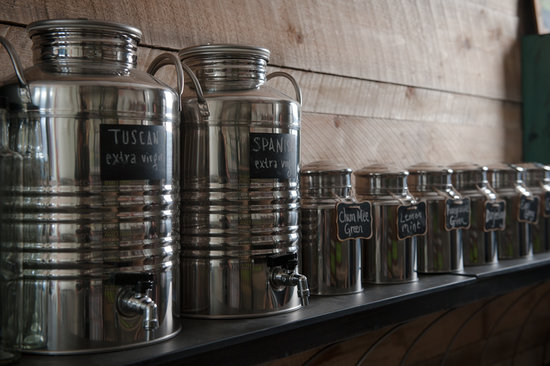 Six Depot Roastery and Cafe: puchase olive oil and 18 kinds of tea in bulk