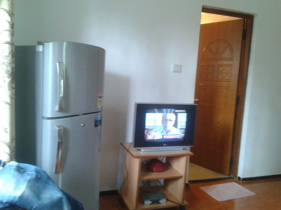 Albuquerque Holiday Villas Goa: Living Room with fridge and TV