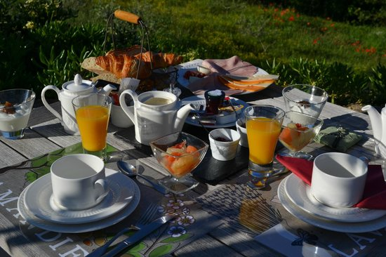 Le Mas du Loriot : Our spectacular breakfast feast every morning on the terrace!